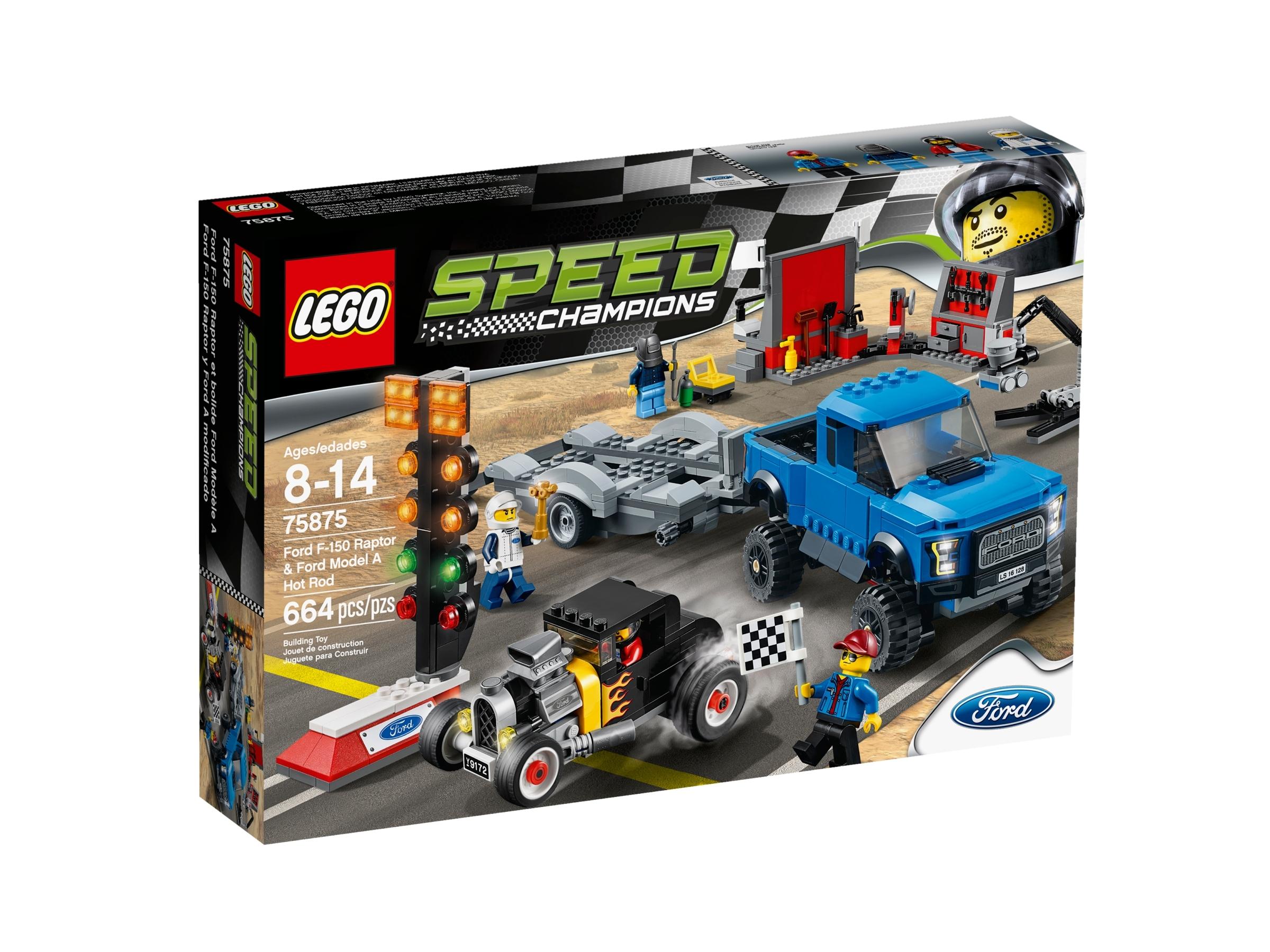 lego 75875 ford f 150 raptor ja fordin a mallin viritetty auto